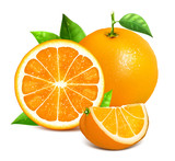 Orange whole and slices of oranges
