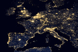 City lights on world map. Europe. - 136442457