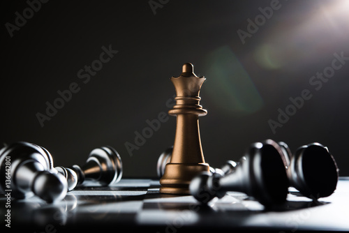 Poster King and Knight of chess setup on dark background .