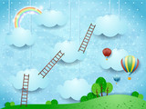 Surreal landscape with ladders and hot air balloons