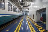 vagoni ferroviari all'interno della nave traghetto