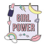 "Vector poster ""Girl Power"" with cute fashion patch badges: lips, rainbow, star, diamond, lipstick. Trendy collection of stickers, pins, patches in cartoon comic style."