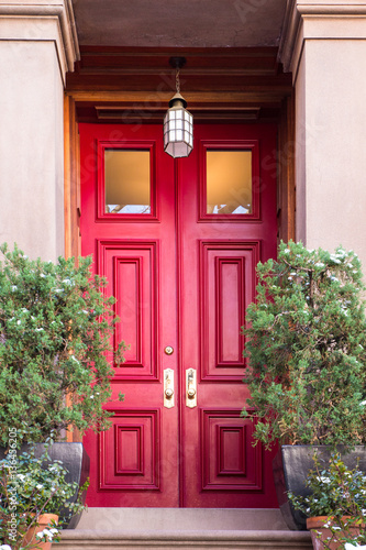Poster Typical Entrance door to a New York City apartment building residential home