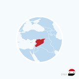 Map icon of Syria. Blue map of Middle East with highlighted Syria