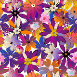 floral seamless pattern background, with strokes, spring flowers