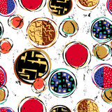 seamless background pattern, with circles/dots, strokes and spla