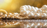 Beautiful white and golden pearls jewelry