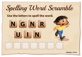 Spelling word scramble for word running