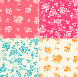 Set of seamless patterns with vintage roses. Floral background