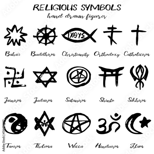 Hand Drawn Religious Symbols Written Grunge Signs With Their Names On White Background Vector