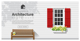Elements of architecture , window background , vector ,illustration - 136474077