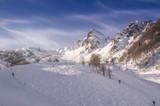 Panoramic view the slopes; and the skiing area Rosa Khutor; Krasnaya Polyana; Sochi; Russia.