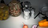 Cucina degli orrori con occhi in salamoia