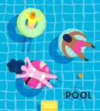 Poster summer pool - 136480618