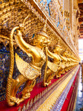 Golden Garuda catching Naga sculpture at Wat Phra Kraw, Bangkok