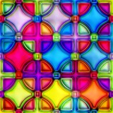 Bright repeating stained glass geometric pattern