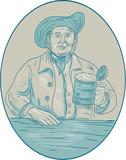 Gentleman Beer Drinker Tankard Oval Drawing