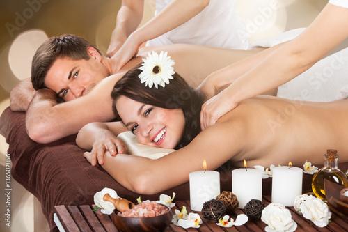 Couple Receiving Shoulder Massage