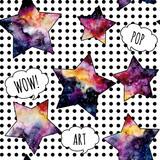 Seamless Pattern of Watercolor Stars in Pop Art Style