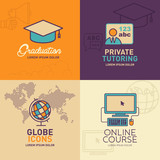 Education Flat Icons, graduation cap, teacher, globe with world map, online education / vector illustration eps-10. - 136508667