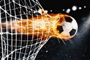 Soccer fireball scores a goal on the net