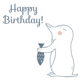 Happy Birthday Card with Penguin and Fish