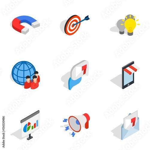 Electronic commerce icons, isometric 3d style