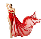 Woman Sexy Body in Red Flying Silk Fabric, Fashion Beauty Model Naked Leg, White Isolated