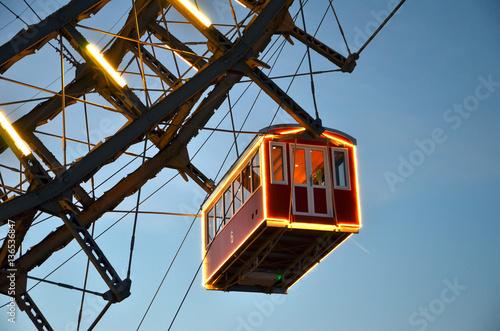 Fotobehang Wenen detail of cabin Vienna giant wheel illuminated in winter christmas