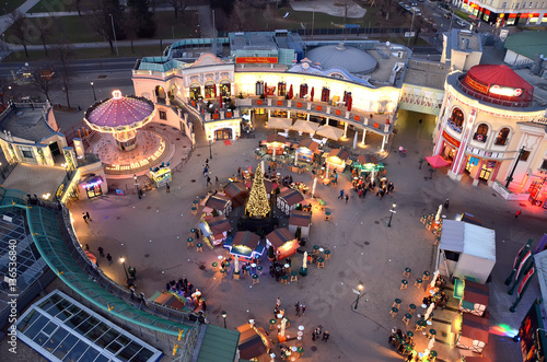 Vienna prater park attraction illuminated in winter christmas view from giant wh Poster