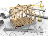 3d illustration of wooden house frame over drawings background with crane