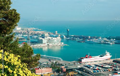 Aluminium Barcelona. Spain. View of sea and port.