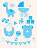 Collection of blue Baby Boy Objects