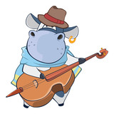 Illustration of a Cute Cow Violinist Jazz Bassist. Cartoon Character