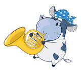 Illustration of a Cute Cow Trumpeter. Cartoon Character
