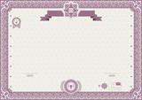 Pink ornamental border. Beige official certificate.