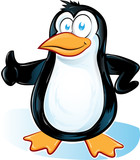 pinguin cartoon on white background