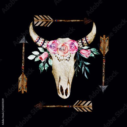 Watercolor hand drawn isolated deer skull on white background. For print, tattoo, poster - 136559239