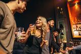 Group of people having fun at nightclub