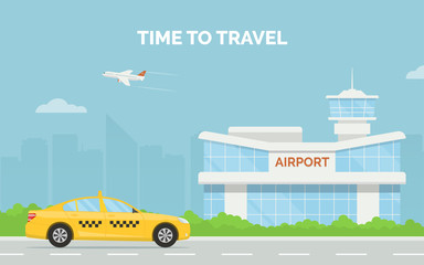 Horizontal cartoon banner with airport terminal taxi car and a plane taking off in the background a city skyline. Vector flat design illustration of modern airport building and taxi service transfer.