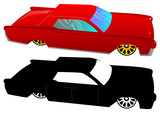 Vector illustrated cartoon 60s luxury car on white background.