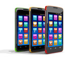Touchscreen smartphones with pictograms. Image with clipping path.
