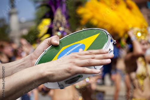 tambourine player on samba parade Poster