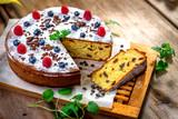 Homemade cake with raisin