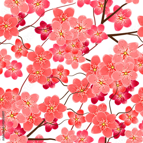 Cotton fabric Seamless pattern with sakura flowers branches
