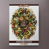 Cartoon colorful hand drawn doodles Coffee poster