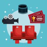 Movie entertainment elements icon vector illustration design