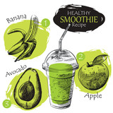 Hand drawn smoothie recipe isolated on white background. Banana, apple, avocado smoothie sketch elements. Eco healthy ingredients vector illustration. Great for poster, banner, voucher, coupon. - 136597255