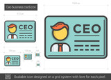 CEO business card line icon.