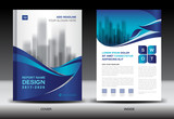 Annual report brochure flyer template, Blue cover design, business, company profile, book, magazine ads, booklet,